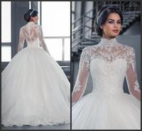 ingrosso abito di corsetto arancione-2018 Vintage White Tulle A-Line abiti da sposa Appliqued pizzo pavimento-lunghezza gioiello maniche lunghe abiti da sposa Plus Size