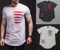 Wholesale Destroyed Black Shorts - 2016 New European Street tide brand ink men ink ripped T-shirt male destroy T-shirt LK