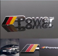 Wholesale Audi Emblems - Car Body Metal Emblem Bumper Engine Hood German Flag Power Sticker For VW Audi Free shipping YY185