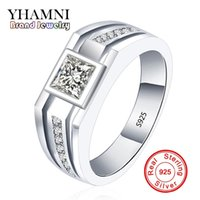 YHAMNI Fashion Real Solid 925 anneaux en argent sterling pour hommes Wedding Engagement Ring Fashion Zircon CZ Jewelry MJZ001