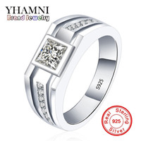 Wholesale Real Engagement Ring Men - YHAMNI Fashion Real Solid 925 Sterling Silver Rings for Men Wedding Engagement Ring Fashion Zircon CZ Jewelry MJZ001