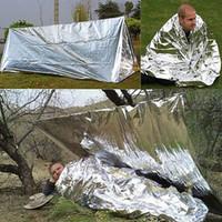camisetas de viaje al por mayor-Nueva tienda de rescate de emergencia portátil al aire libre plegable / manta / saco de dormir primeros auxilios supervivencia cálido campamento refugio viajes camiseta ZJ-B01