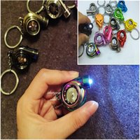 Wholesale Cartoon Electric Fan - 13 Colors LED Electric Torch Spinning Turbo Keychain Fans Favorite Sleeve Bearing Turbine Turbocharger Keyring Free DHL F415L