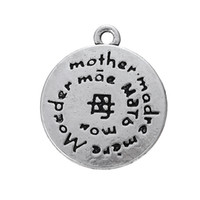 Wholesale Antique Chinese Charm Bracelet - Myshape zinc alloy antique silver Mother in Chinese Character 2 sides printed charms for bracelets necklace making