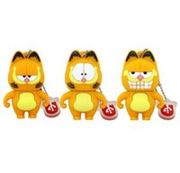Barato Gatos Drive Pen-Cute Cartoon Garfield Cat Animal USB Flash Drive 2GB 4GB USB Drive Pen Drive 8GB 16GB Pendrive Disco de memória flash
