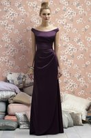 Wholesale Dress For Party Over - Plus Size Dark Purple Bridesmaid Dress Satin Long Dress For Party Over Robe Demoiselle D'honneur Pleat Women Formal Gowns