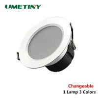 Venta al por mayor- UMETINY cambiable 3W / 5W / 7W LED Downlight lámpara de techo redonda AC180-240V LED Down luz empotrada 3 color cambiable SMD 5730 lámpara
