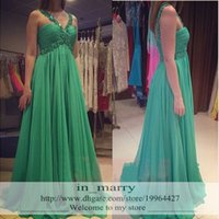 Wholesale Evenign Dresses - Light Green Long Chiffon Graduation Prom Dresses 2016 A Line Beaded Sequined Plus Size Cheap Simple Formal Evenign Party Gowns For Girls