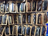 Wholesale Mens Woven Leather Bracelets - Handemade Mens Womens Leather Weave Bracelet Braided Wristband Charm Bracelets Mixed Fahion Jewelry Bangle Wholesale (3 in1) Set