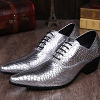 Wholesale Low Heeled Silver Shoes Wedding - Snake grain silver men's tie the laces that toe wedding shoes low heel dress shoes real leather Oxford business plus size men