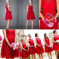 coral red dress Canada - Elegant Red Scoop Knee Length Short Lace Ivory Coral Yellow Royal Blue Lavender Purple Green Bridesmaid Dresses Party Dress