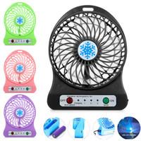 ledli soğutma fanları toptan satış-Taşınabilir 3 Dişli Hız 4.5 W Soğutma Fanı Mini USB 3.7 V LED Fan Li-Ion 2200 mAh Pil Şarj Edilebilir Çok Fonksiyonlu Fan