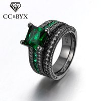 WholeSale Midi Rings For Women Jóias de moda Double Pieces Ring Sets Black Gold Plated Square Green Cubic Zirconia Diamond Gifts R629