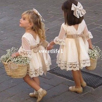 Wholesale Girls Pageant Dresses Polka Dot - 2017 New Cute Champagne Polka Dot Lace Flower Girls Dresses Short Mini Half Sleeve Lace First Communion Dresses Kids Pageant Gown Custom