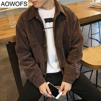 Wholesale Mens Japanese Jacket - Wholesale- Japanese Style New Men's Jacket Spring autumn Fashion Corduroy Embroidery Jacket Mens Baseball Coat Korean Plus Size 4XL