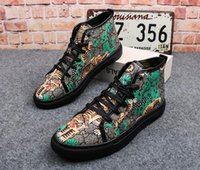 Wholesale Dance Shoe Male - NEW Winter Fashion Men High Top British tiger printed Shoes man Causal Luxury Hip hop Skateboarding dance Shoes for Male