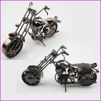 Wholesale art iron handmade resale online - American Style Handmade Iron Art Metal Craft Harley Motorcycle Model Toy Motorbike Models Toys Home Office Bar Decoration Souvenir