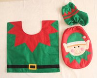 Wholesale rugs sets for sale - Group buy Party Supplies Christmas Elves Toilet Seat Cover Rug Bathroom Set Christmas Decorations Tracking Number