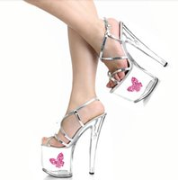 Wholesale High Fashion Wedding Bling Shoes - 2016 Fashion Sexy Silver Bling Crystal Sandals Wedding Shoes 20cm High Heel Shoes Sexy Clubbing High Heels