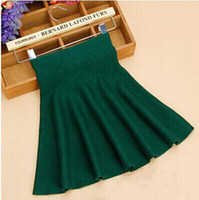 Wholesale Woolen Pleated Mini Skirt - 2016 Spring Autumn High Waist Knitted Skirts Women Pleated mini Skirt Casual Elastic Flared Skirt Female midi Short Skirt Woman