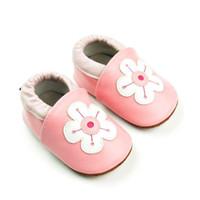 pattern pink rubber shoes großhandel-Neue lederne Frühlings- und Herbstmädchenbabyschuhe rutschfeste Gummisohle weißes Blumenmusterrosa geben Verschiffen frei