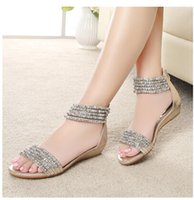 Wholesale Peep Toe Ankle Wedge - Bohemia Rome the wind new fund 2016 summer with wedges women sandals beaded rhinestone peep-toe low heel sandals