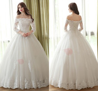 Wholesale Long Sleeve Bandage Dress Backless - 2017 Lace Ball Gown Wedding Dresses Illusion Long Sleeve off The Shoulder Pearls Applique Sequins Beads Bandage Backless Wedding Dress