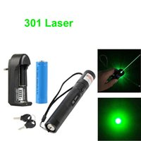 301 Green Pointer Laser Pen 532nm 1mw réglable Focus Battery + Charger EU Adapter Set Livraison gratuite