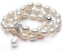 Wholesale Tahitian Pearls 8mm - Beautiful 7-8mm rice shape Tahitian white pearl necklace 18 inch 925 silver clasp