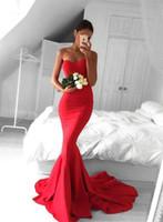 ingrosso aprire i vestiti di promenade mozzafiato-2017 Stunning Red Sweetheart Mermaid Prom Party Dresses lungo aperto indietro pavimento lunghezza abiti da sera indossare occasioni speciali vestidos fiesta