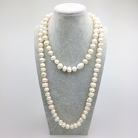 Wholesale wholesale long beaded necklaces - PE0049 42 inch Women High Quality Handmade Knotted freshwater pearl necklace long women fashion necklace free shipping