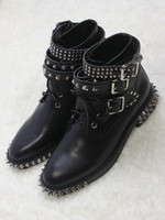 Wholesale Black Low Ankle Punk Boots - 2016 New cool Punk Martin boots black Genuine leather Rivet ladies short boots Belt buckle low heeled winter lace-up boots