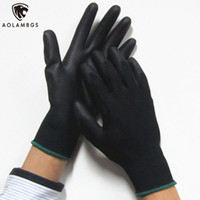 Wholesale Working Gloves Wholesale - Work Gloves black Palm Coated working gloves Workplace Safety Supplies Safety Gloves PU518 5pair lot cut-resistant anti-static