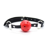 Wholesale Bondage Ball Gag Head Harness - BDSM Bondage Adjustable Slave Head Harness Ball Gag Pu Leather Alternative Toys Hollow Mouth Gag Sex Games Tool Apertural Plug Mouth Plug