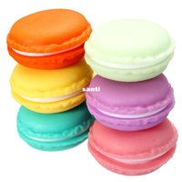 Wholesale Plastic Candy Pieces - Sweet Macarons Storage Box Candy Color For Jewelry Earring Outing Boxes Living Essential