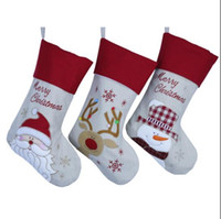 Wholesale 2016 Hot Sale Sedex Audited Factory Embroidered Cute Santa Claus Pattern Christmas Stocking for Christmas Decoration