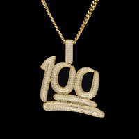 Wholesale Mens Luxury Chain - New Mens Luxury Micro Pave Iced Out Cubic Zirconia 100 Percent Pendant Necklace Fashion Charm Jewelry With 3mm Cuban Chain