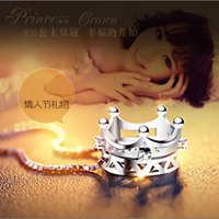 Wholesale crown charm pendant necklace resale online - Crown Princess Pendant NO CHAIN Sterling Silver Plated Lady Charm Pendant Necklaces Gemstone Pendant Jewelry Crystal Circle Copper DHL