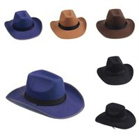 Wholesale Cowboy Hats Ribbon - Wholesale-Unisex Men Women Wool Felt Western Cowboy Cowgirl Jazz Montana Hat Ribbon Band