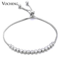 Wholesale Metal Prong - VOCHENG Round CZ Stone Metal Bracelet 2 Colors Plating Adjustable Women Bangle Trendy Jewelry VG-084