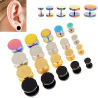 100pcs colori misti dimensioni Sandblast Top Screw Fit Tappi per le orecchie Gauge Expander Earlobe Taper Barella Ear Piercing Ear Tunnel Plug