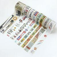 tarjetas de scrapbooking al por mayor-10 Patrones 2016 Vintage Washi Tape Cinta Adhesiva para DIY Scrapbooking Novela Vida Pegatinas de Papel Decoración de Tarjetas de Viaje Diario de Viaje