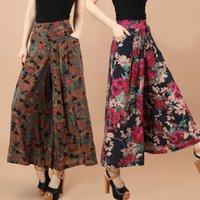 Wholesale Wide Leg Plus Size Capris - Wholesale-Plus Size Women Floral Pants 2016 Summer Casual High Waist Wide Leg Pants Trousers Fashion Loose Pantalones Capris 4XL 5XL QL978