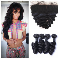 Wholesale Easy Weave - Malaysian Loose Wave lace frontal closure with 4 bundles unprocessed human hair weaves with closure G-EASY