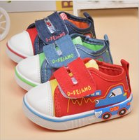 Wholesale Cartoon Shoes For Toddlers - Free shipping 2017 spring autumn cute cartoon casual denim canvas toddler baby shoes for boys kids child rubber wholesale