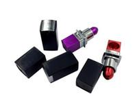 Wholesale blue purple lipstick online - Lipstick Smoking Pipes Aluminium Alloy Smoking Pipe Red Purple Lipstick Style Portable Tobacco Pipes Fasion Mini Metal Pipes