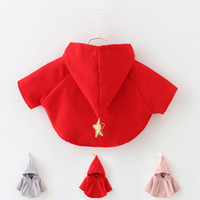 Wholesale Formal Hoodie - Cute Halloween Costumes With Hoodie For Children Red Pink Flower Girl Wedding Shawls 100% Cotton Kids Coat