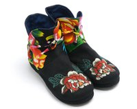 Wholesale Chinese Boots Flowers - 100% Cotton Chinese Folk Cloth Round handmade Healthy Flower women's Boots with Heel Bandage 2 colors for Spring Fall