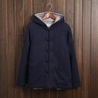 Wholesale Men Hanfu - Fall-Chinese Men's Autumn and Winter Fashion Wind Thickening Hooded Jacket Thick Linen Jacket Retro Chinese Hanfu