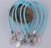 Wholesale Mixed Evil Eye Charm - Wholesale-PU Leather Cords Lucky Kabbalah Charms Bracelet Mixed Fatima Hamsa Hand Evil Eye Jewish Protection Religion Jewelry Gift 50pcs